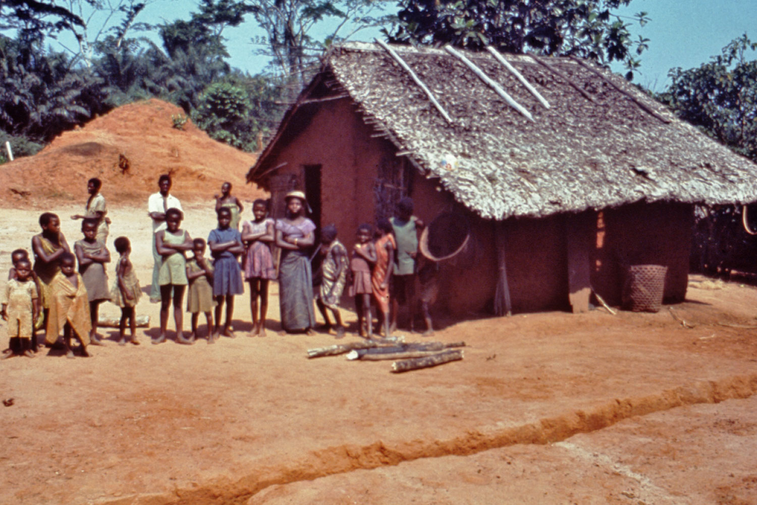 Photo of a community in Yambuku, Zaire (now Democratic Republic of Congo), waiting in line to be examined by U.S. Centers for Disease Control and Prevention (CDC) officers during 1976 Ebola outbreak.