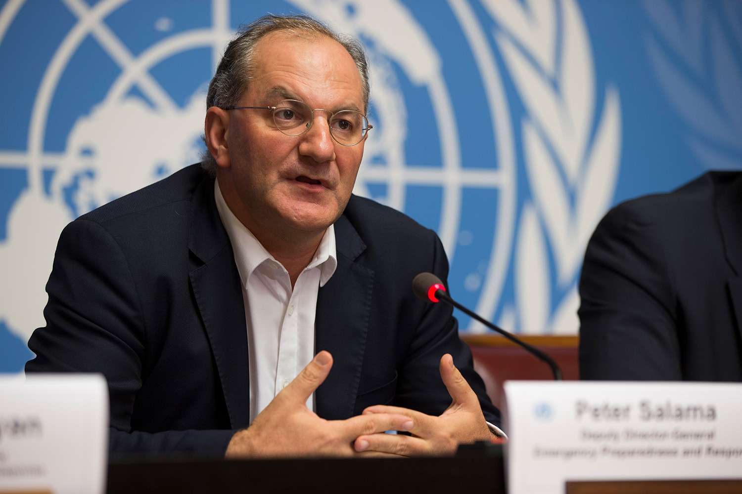 Press conference photograph of Peter Salama, Executive Director, Universal Health Coverage / Life Course at the World Health Organization.