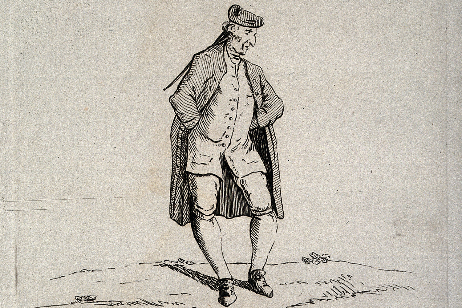 The etching shows a fashionably dressed man standing in a peculiar way.