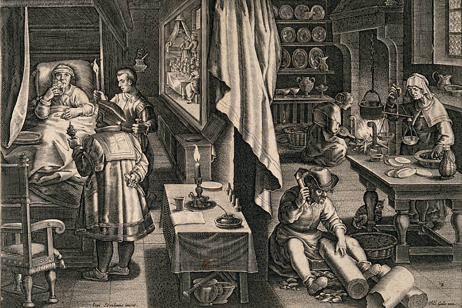 The engraving shows a busy scene in a small room, with domestic activities taking place on one side of the image and the patient being tended to by a doctor on the other.