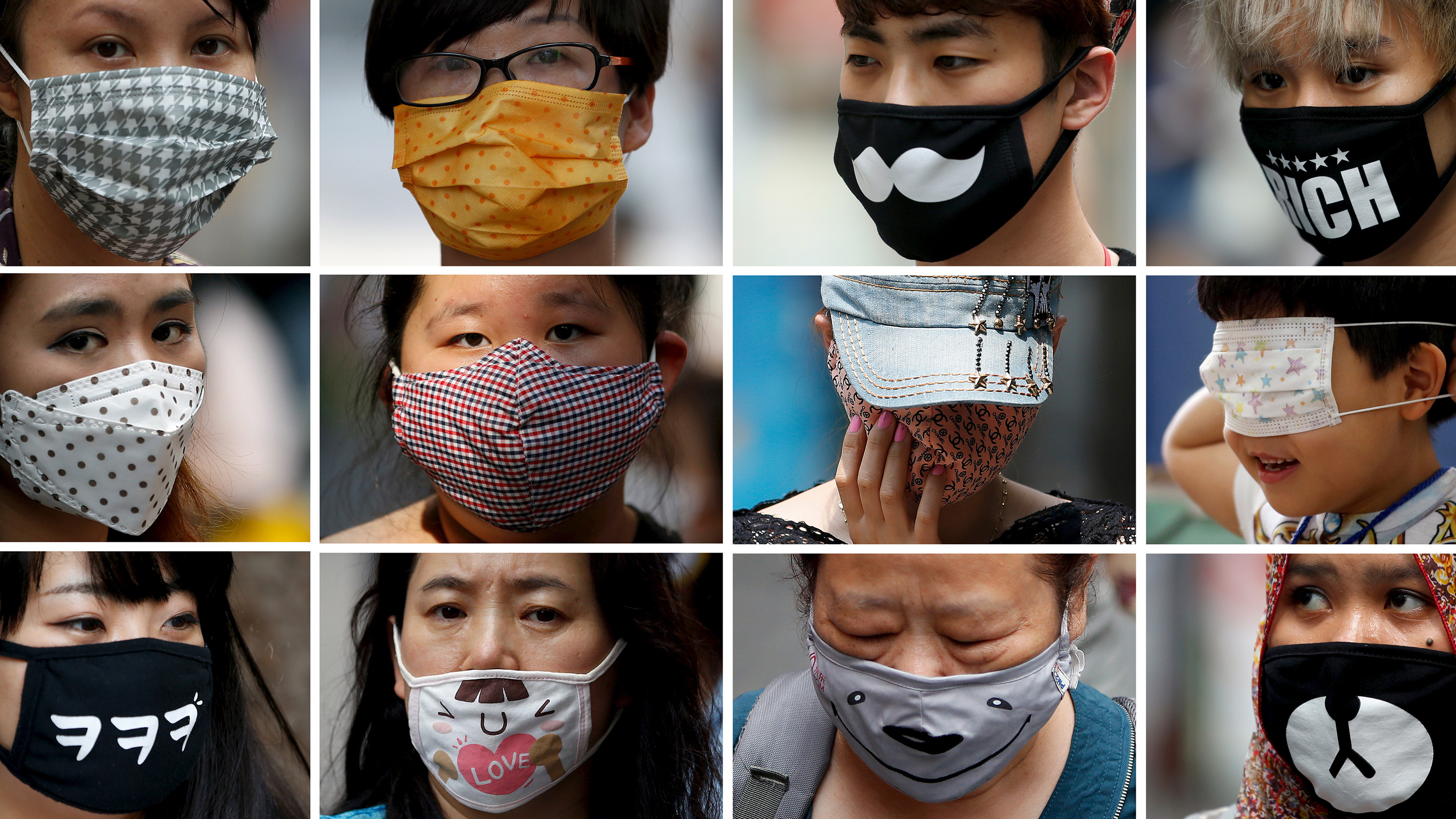 Combination picture shows people wearing a wide variety of masks.