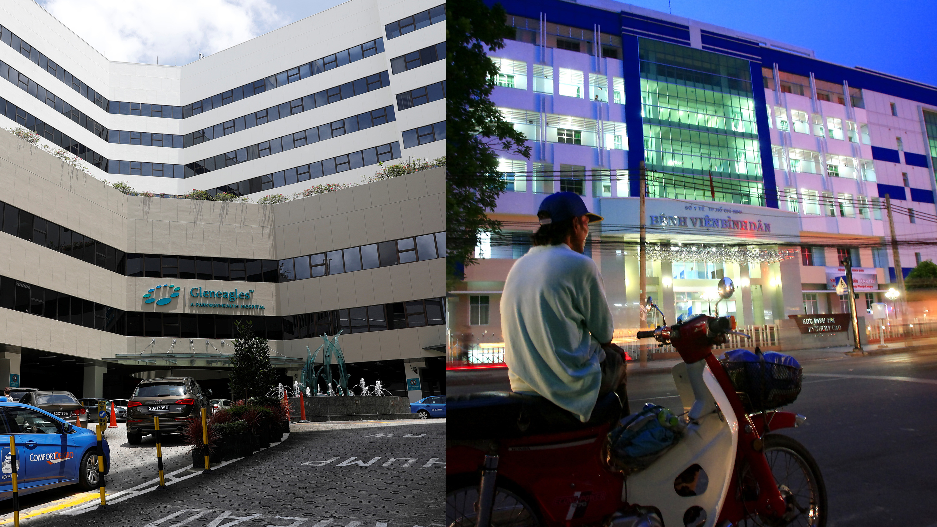 Photo shows two hospitals side by side, one pictured during the day and the other at night.