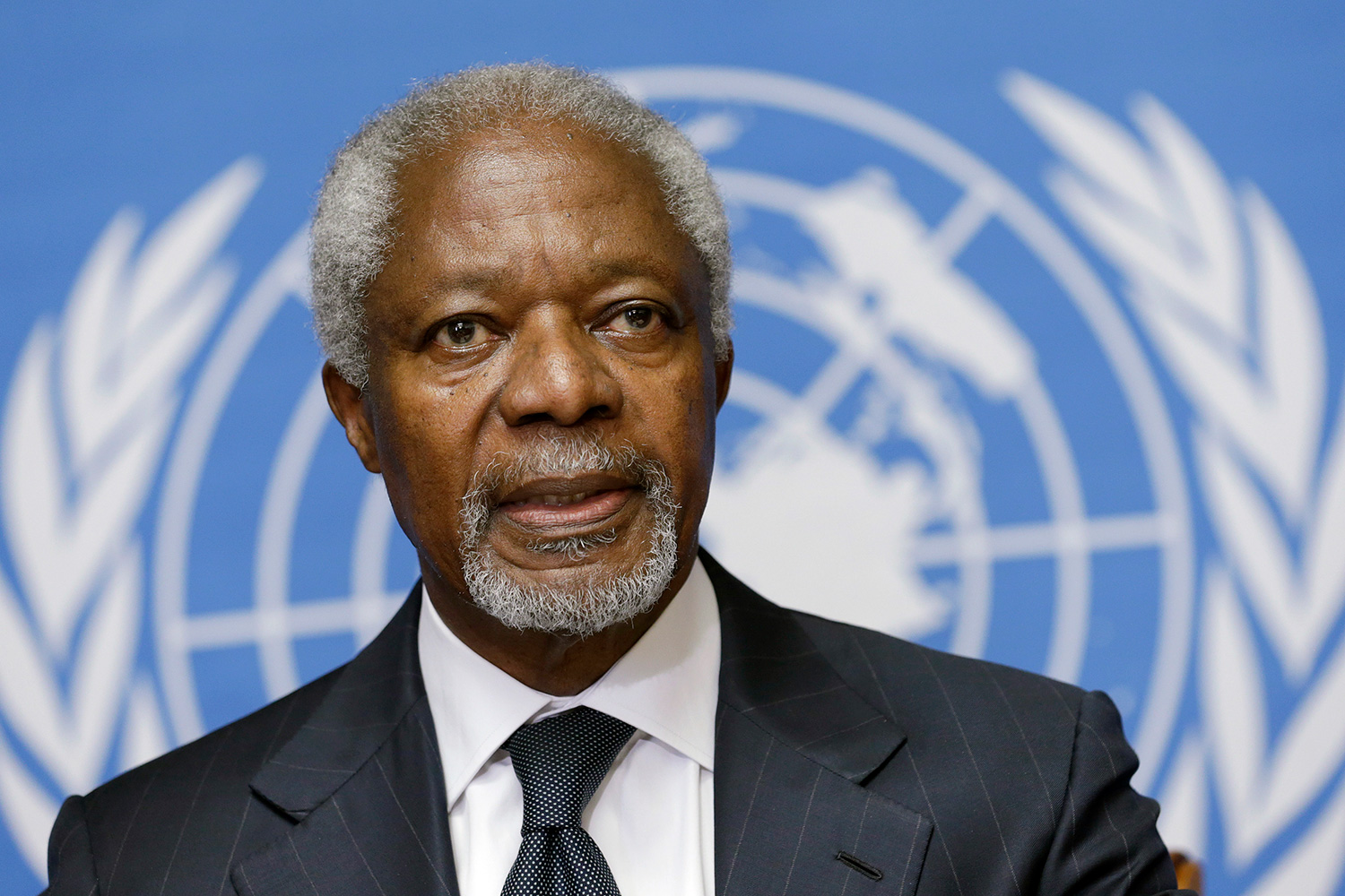 Photo shows a close-up head shot of Annan in front of a blue and white UN banner, which is blurred out in the background.