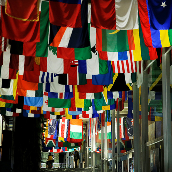 The world awaits COVID-19: a staffer steals a moment to read his mobile device after a WHO-China joint mission news conference on novel coronavirus at the WHO in Geneva, Switzerland on Feb 25, 2020. Image shows dozens and dozens of flags hanging high inside a large interior space. REUTERS/Denis Balibouse