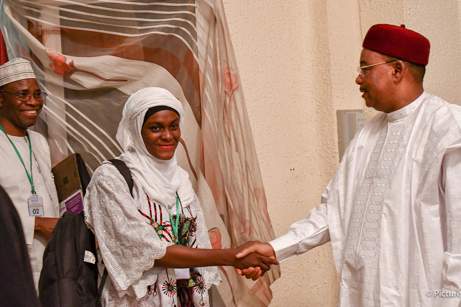 Helping youth directly address their leaders: Mariam Abou Gado, Ouagadougou Partnership Youth Ambassador in Niger, meets with President Issoufou of Niger to discuss recommendations on family planning. The photo shows a smiling Miriam shaking hands with the president. PHOTO courtesy of EtriLabs/Yves Tamomo