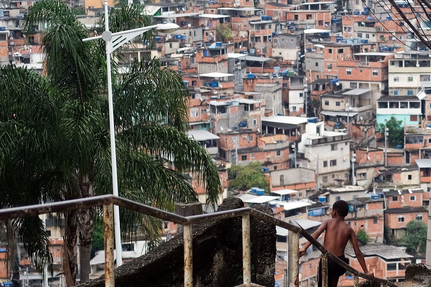 The picture shows a bow on a long staircase leading down to an area of the slum. Picture taken March 22,2020.