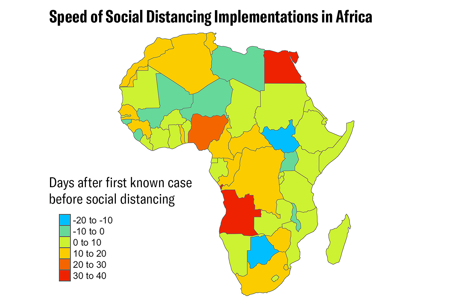 The image is a map of the African continent with countries color coded according to how quickly they implemented social distancing measures.