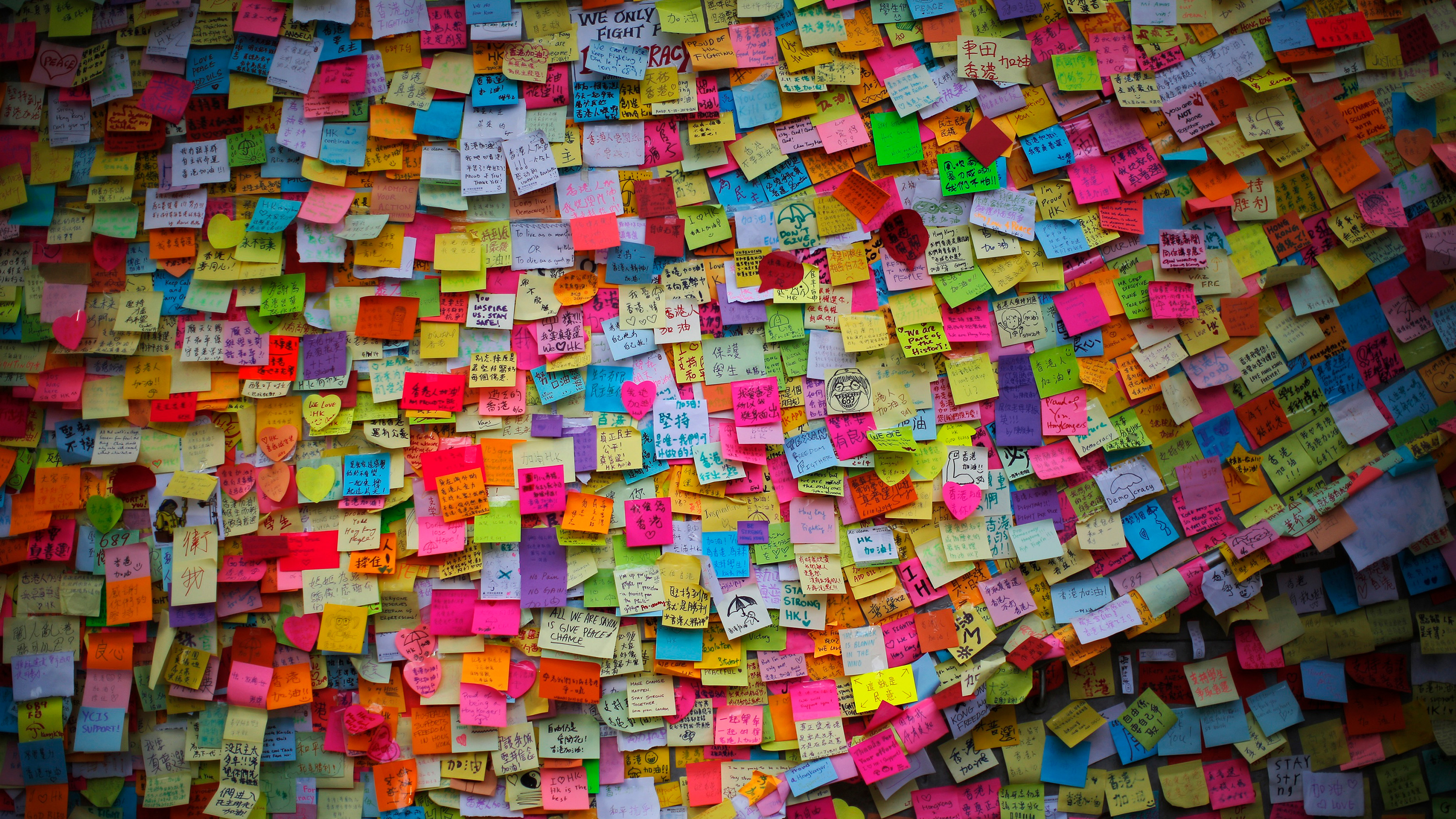 Picture shows a wall covered with thousands of stickies.
