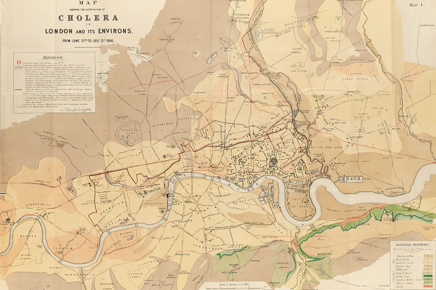 The image is a photo of map of London highlighting cases of cholera there some 154 years ago.