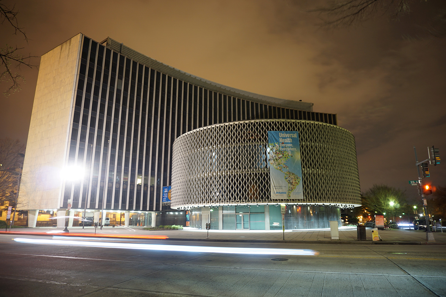Picture shows the large building at night with the eerie light produced by a long exposure with an SLR camera.