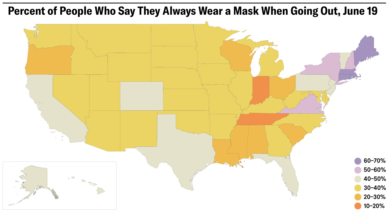 The image shows a map of the United States with different states colored according to their mask use prevalence.