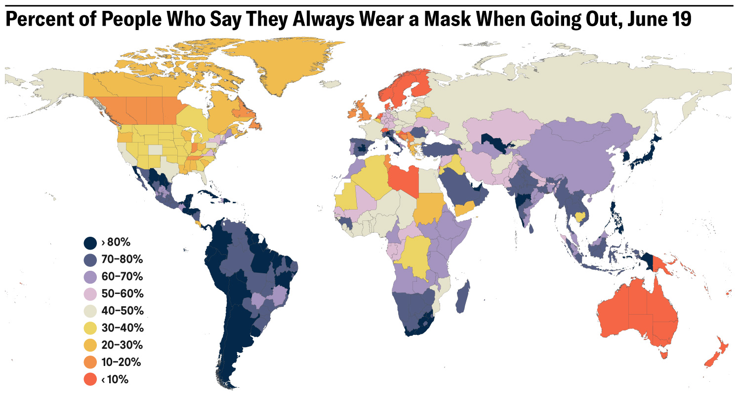 The image shows a map of the world with countries colored according to their mask use prevalence.