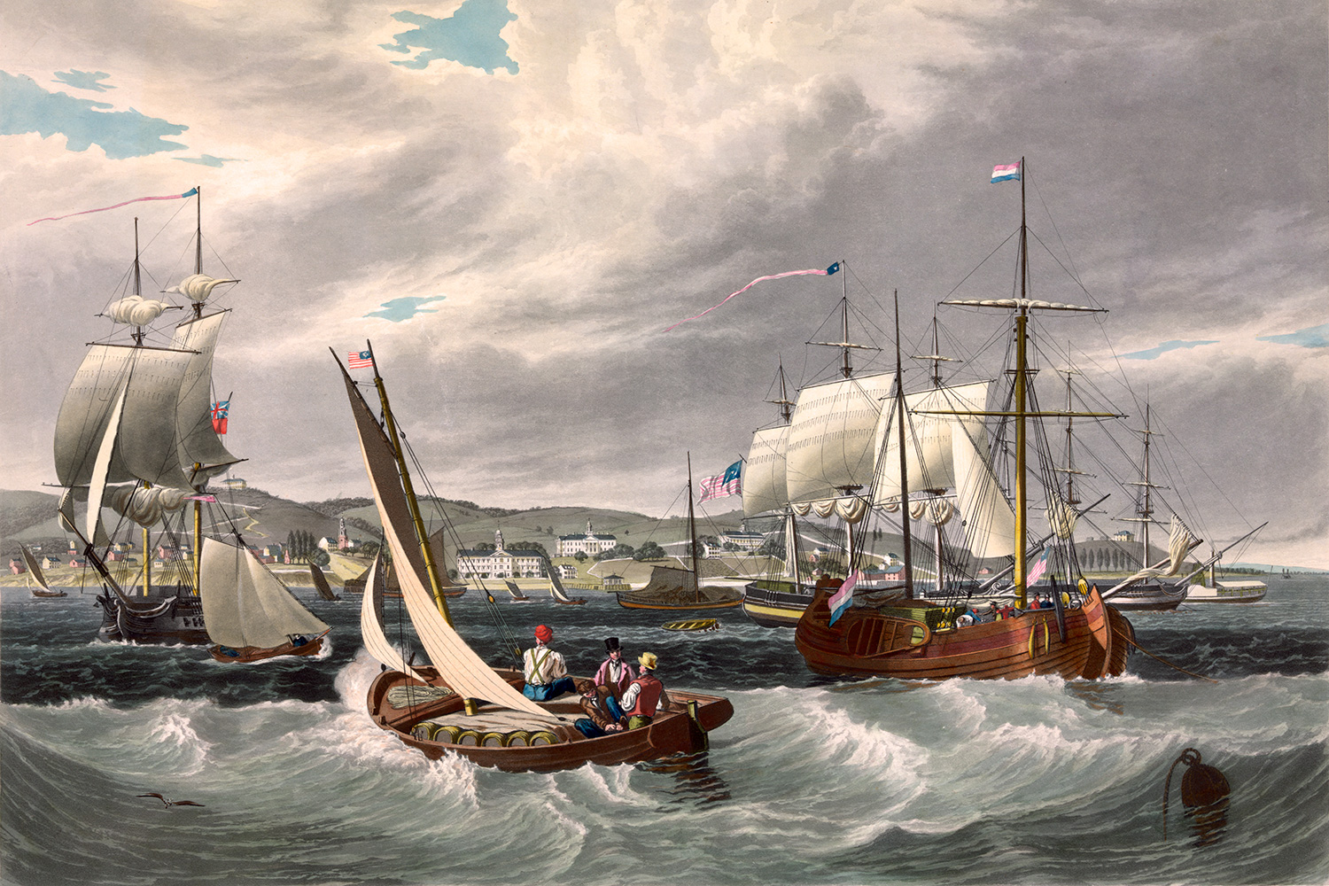 Painting of the Staten Island Quarantine Facility—built in 1799 to care for yellow fever patients, where by the 1850s all passengers from newly arrived ships with signs of a disease were quarantined. The image is an oil painting showing a bustling waterway with lots of tall ships with sails lowered and smaller vessels ferrying cargo to them. GETTY IMAGES/Keith Lance