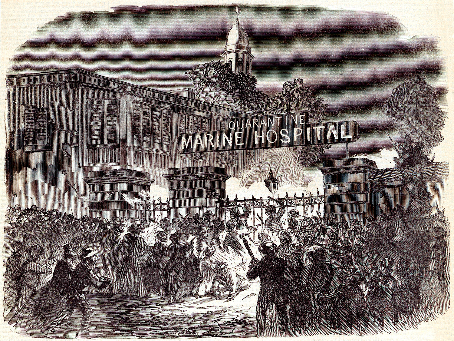 "The image is a woodcut of a massive rioting crowd with clubs and torches storming the iron gates of a facility with a huge sign reading, ""QUARANTINE MARINE HOSPITAL."""