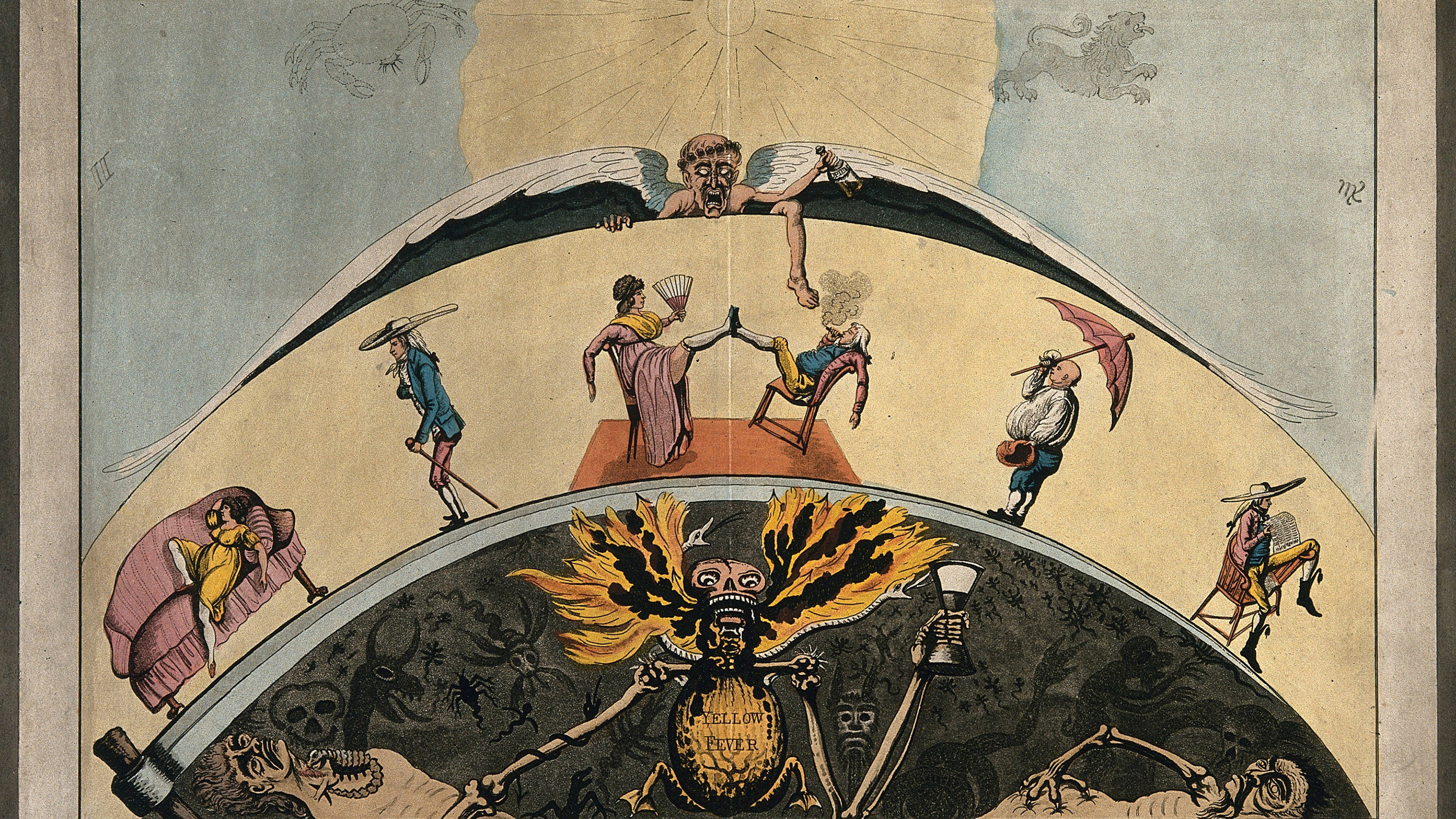 "The image is an old color pencil drawing showing people lounging along a circular arc above and a devilish visage emblazoned with the words ""Yellow Fever"" below."