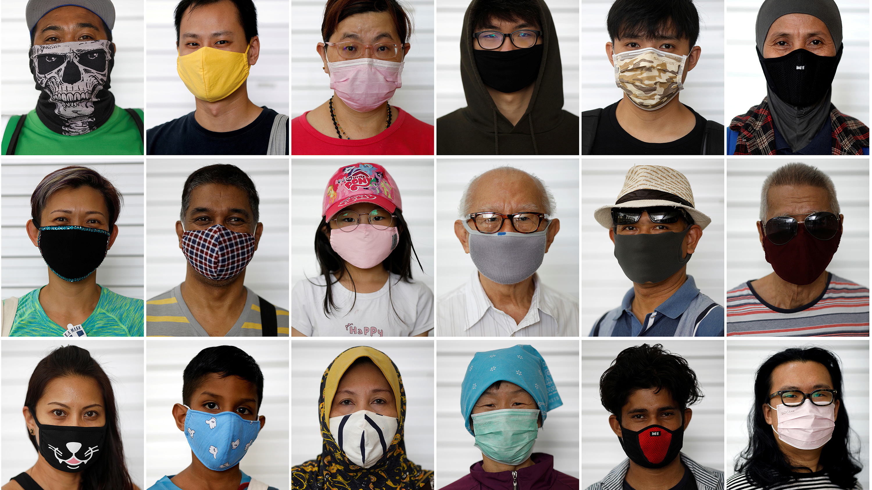 The photo shows an array of people wearing a variety of masks.