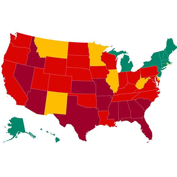 The image shows a heat map of the United States with states colored according to the higher number of tests coming back positive