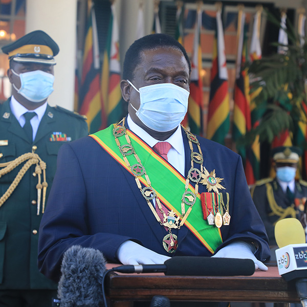 Zimbabwean President Emmerson Mnangagwa gives a speech at the Heroes' Day Commemoration in Harare, Zimbabwe, amid the ongoing COVID-19 pandemic on August 10, 2020. GETTY IMAGES/Wanda/Xinhua