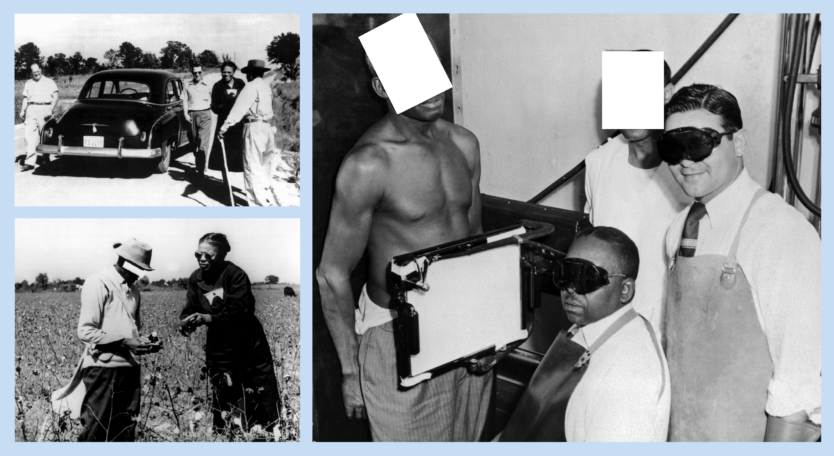 The photos shows health workers and trial participants. In one photo a man behind an X-ray screen whose face has been covered with a square to protect his identity.