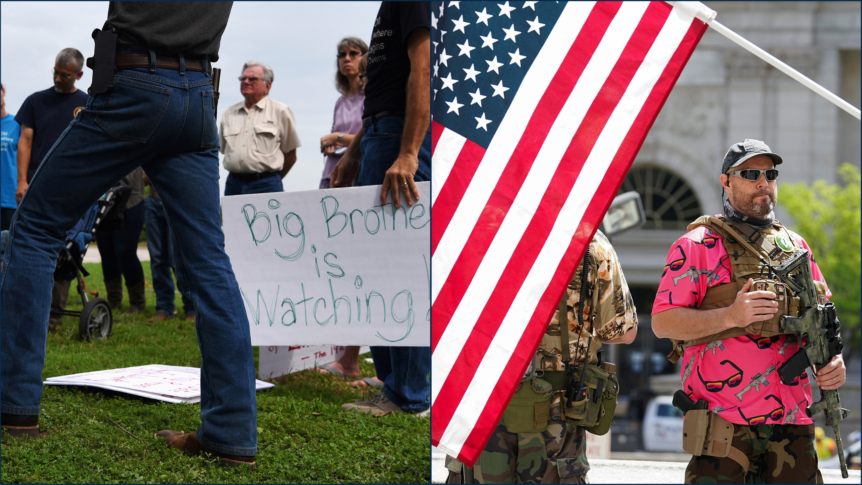 "The image is a split screen showing on the right a small group gathered around holding signs, one of which says ""Big Brother is Watching."" The left image is of a demonstration where a protestor is heavily armed and standing on the steps of a state house. The photo shows"