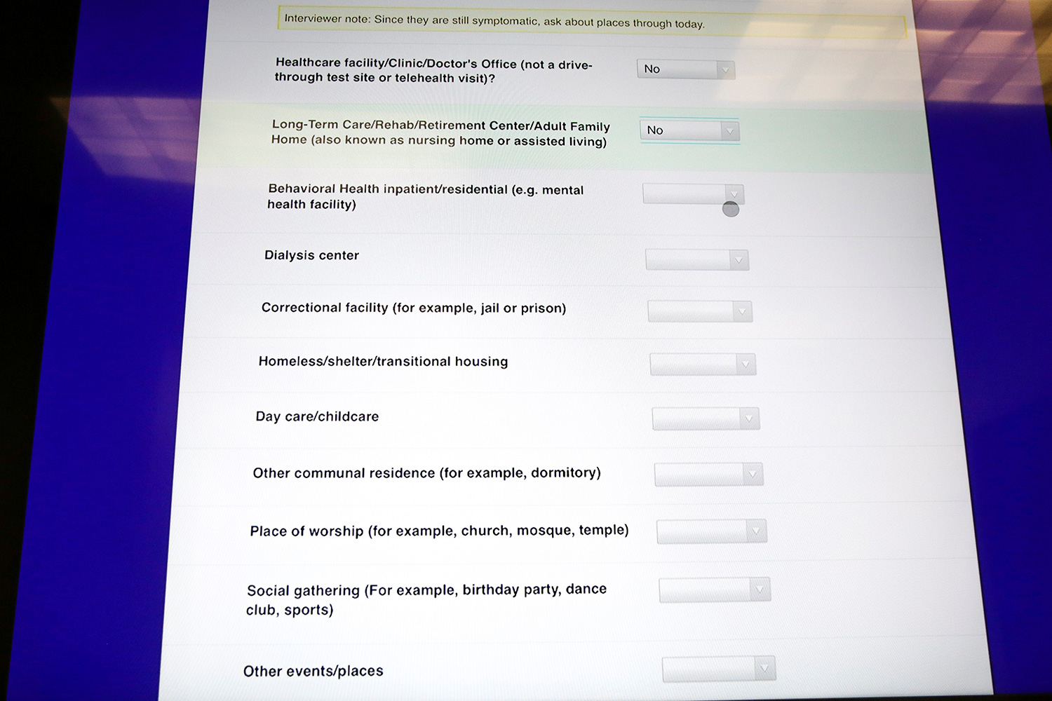 The photo shows a computer screen with questions on it.