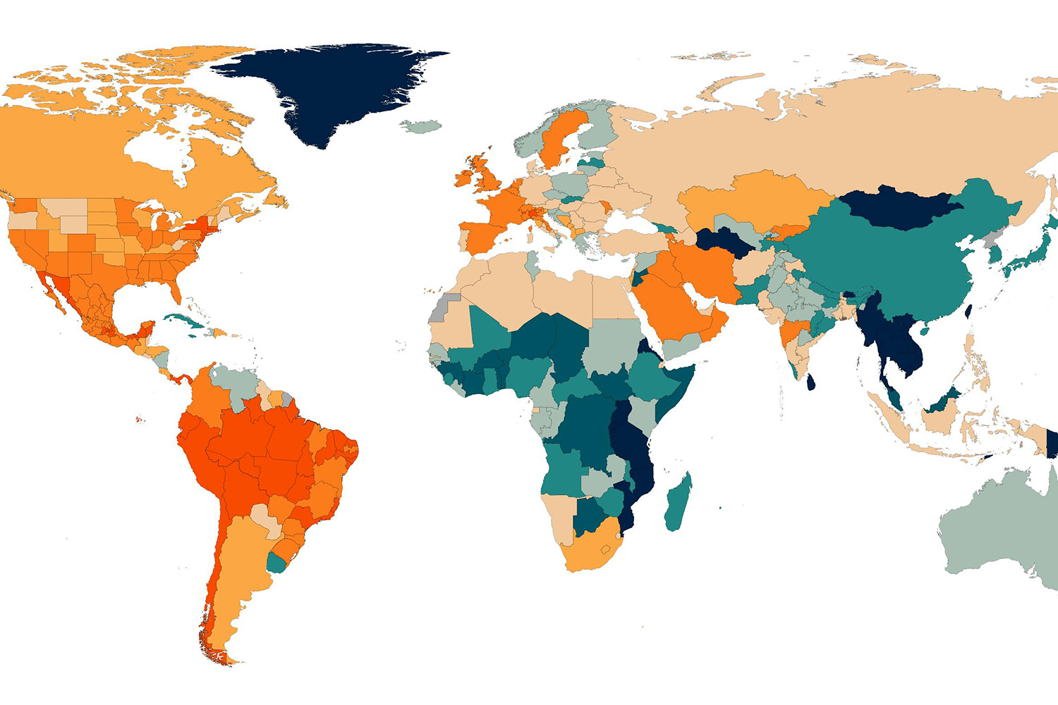 This map shows the ranking of COVID-19 as of Sept. 14, 2020 among all causes of death in the Global Burden of Disease study (rankings assume that all causes are evenly distributed through the year). The image shows a map with countries colored according to how high COVID-19 ranks as a cause of death. IHME image