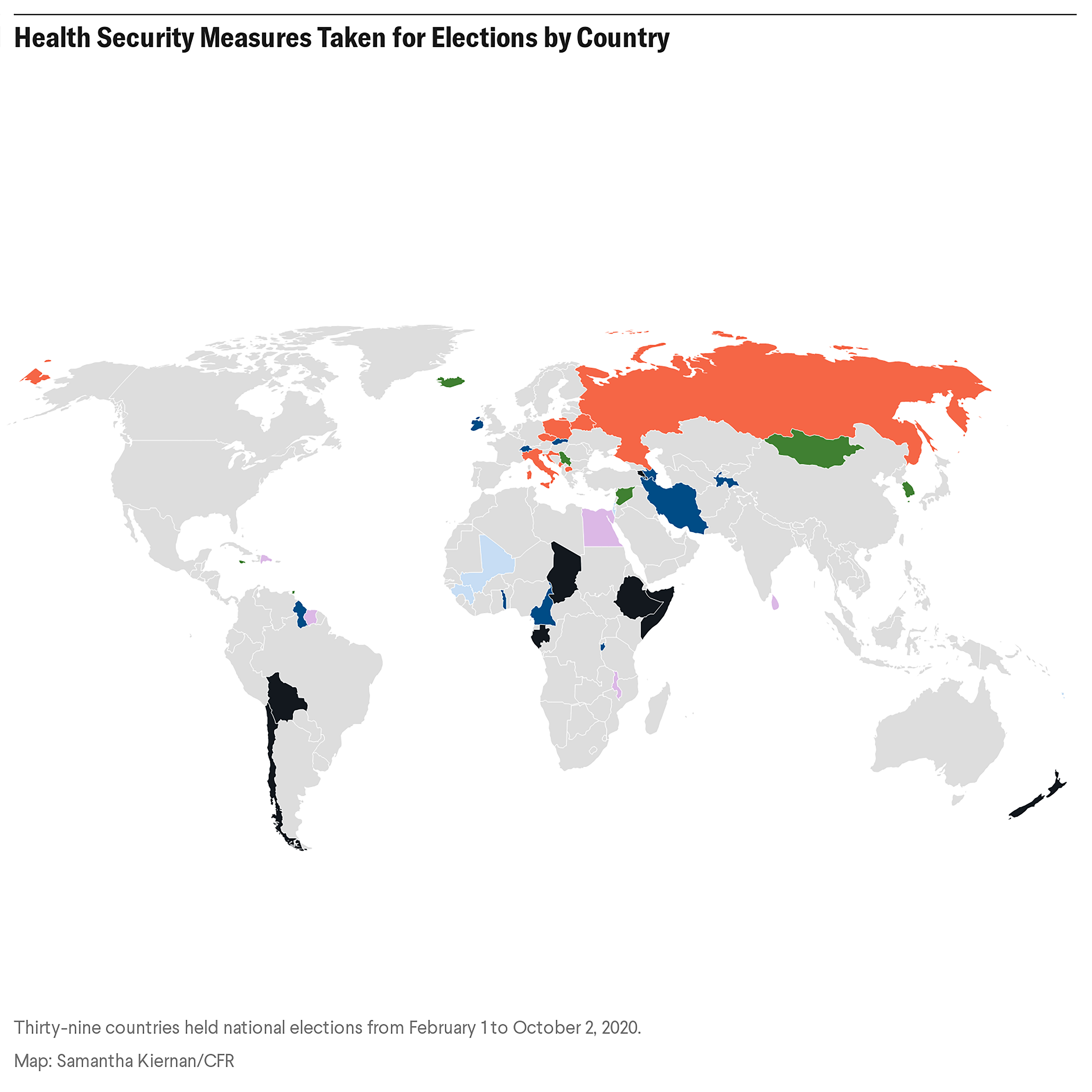 Health security measures taken for elections by country