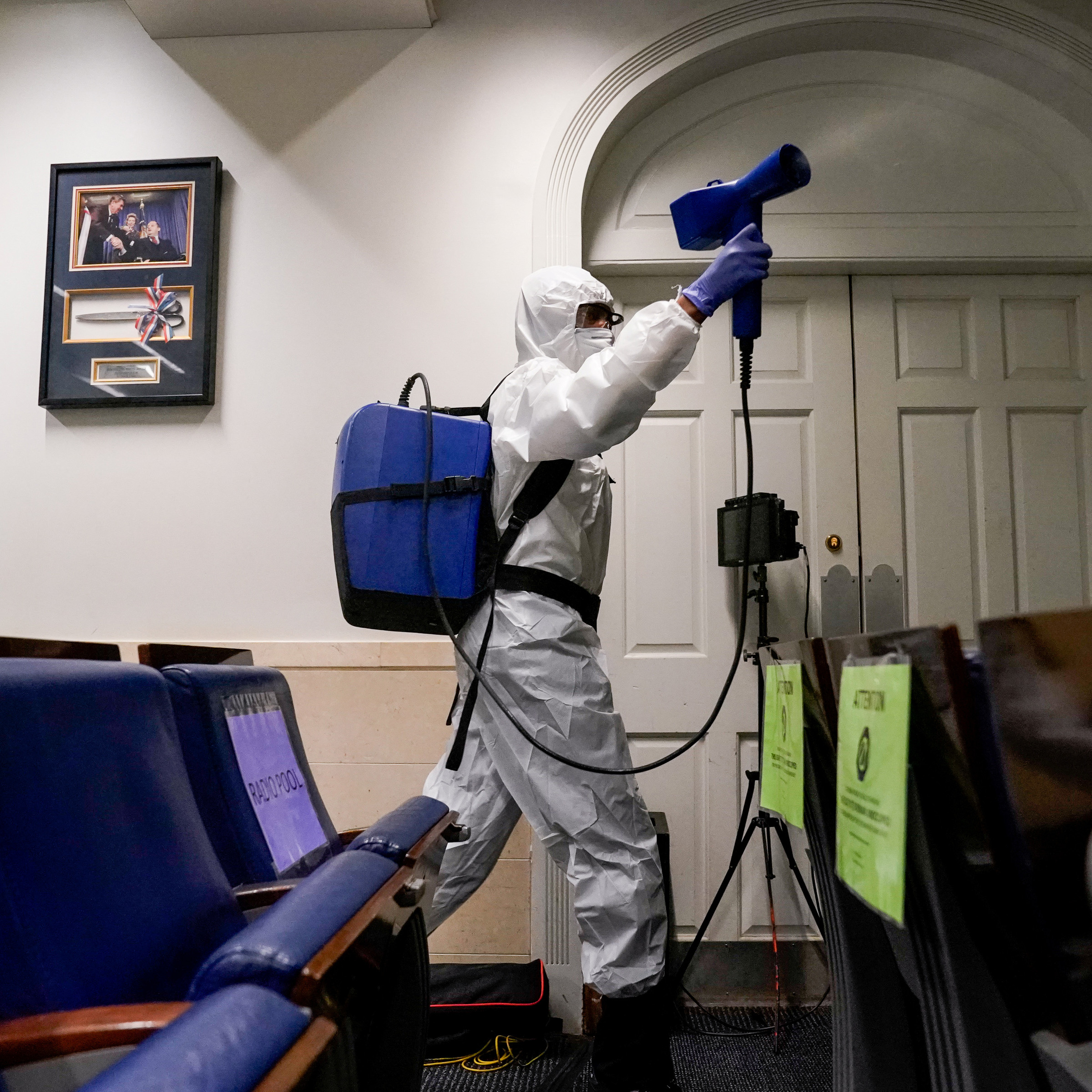 The White House press briefing room is cleaned on the evening U.S. President Donald Trump returns from Walter Reed Medical Center after contracting COVID-19, in Washington, DC, October 5, 2020