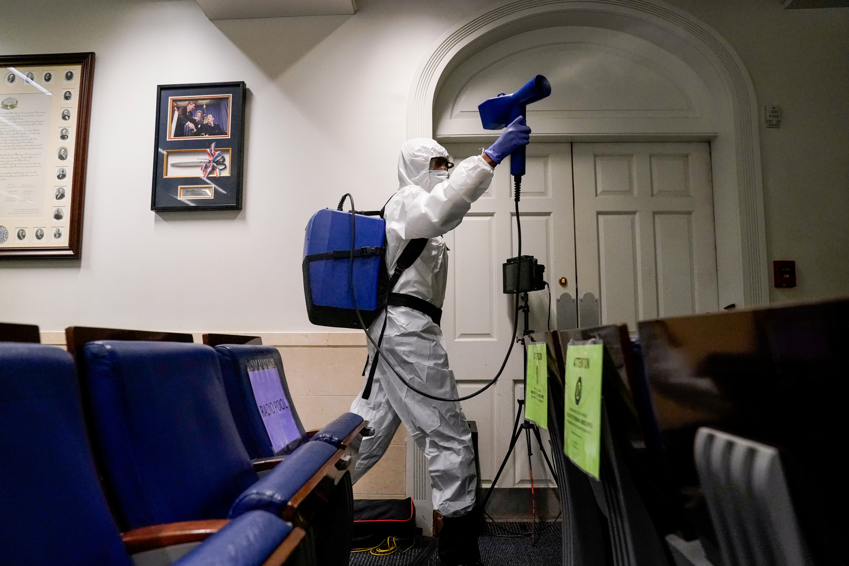 The White House press briefing room is cleaned on the evening U.S. President Donald Trump returns from Walter Reed Medical Center after contracting COVID-19, in Washington, DC, October 5, 2020.