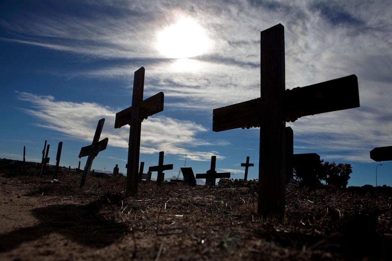 A graveyard in Cape Town's Khayelitsha Township, where many of those who are buried died from HIV/AIDS