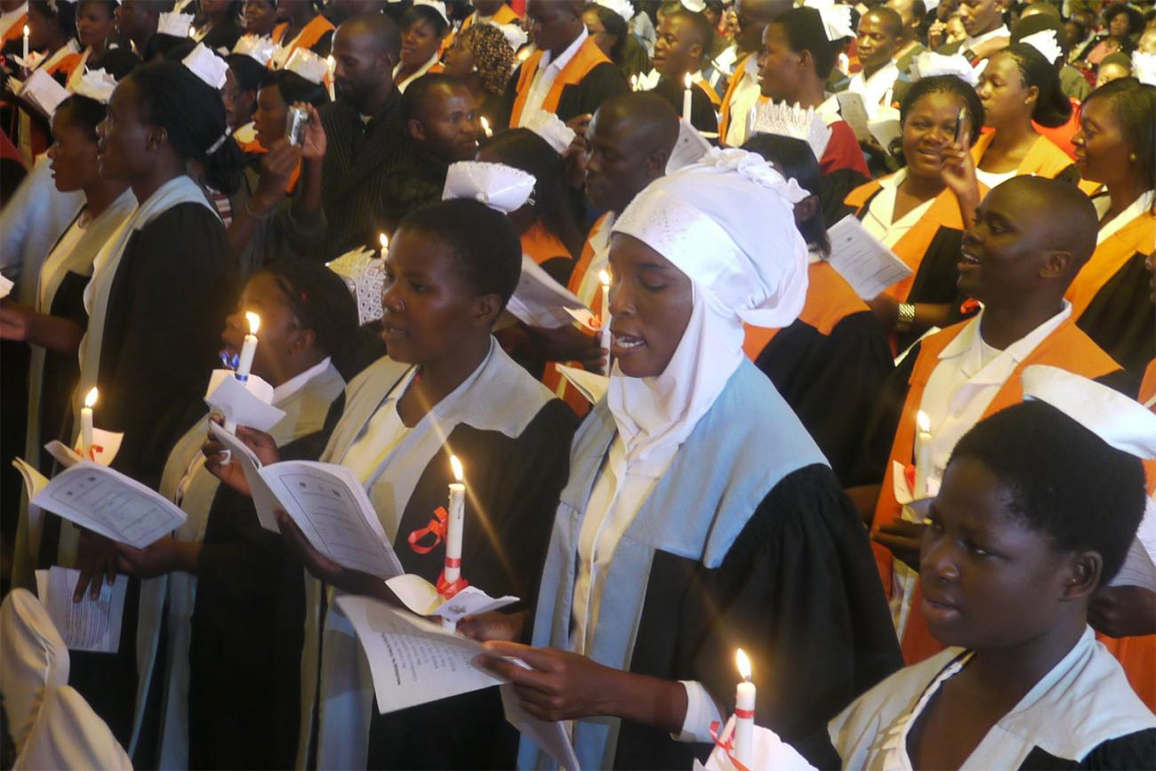 Malawi health care workers trained with PEPFAR funding attending a graduation ceremony in 2014. CDC image.