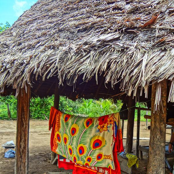 Picture shows a handmade hut in the tiny Amazon jungle village of Checherta, on the border of Ecuador and Peru, made of natural materials with a thatched roof and a brightly colored cloth hanging to dry