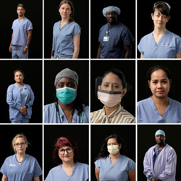 Medical staff pose for a portrait in a combination of photos at Harborview Medical Center during the coronavirus pandemic outbreak in Seattle, Washington on April 8, 2020. Picture is a composite photo with a grid of health care workers wearing scrubs. A few are wearing masks. REUTERS/David Ryder