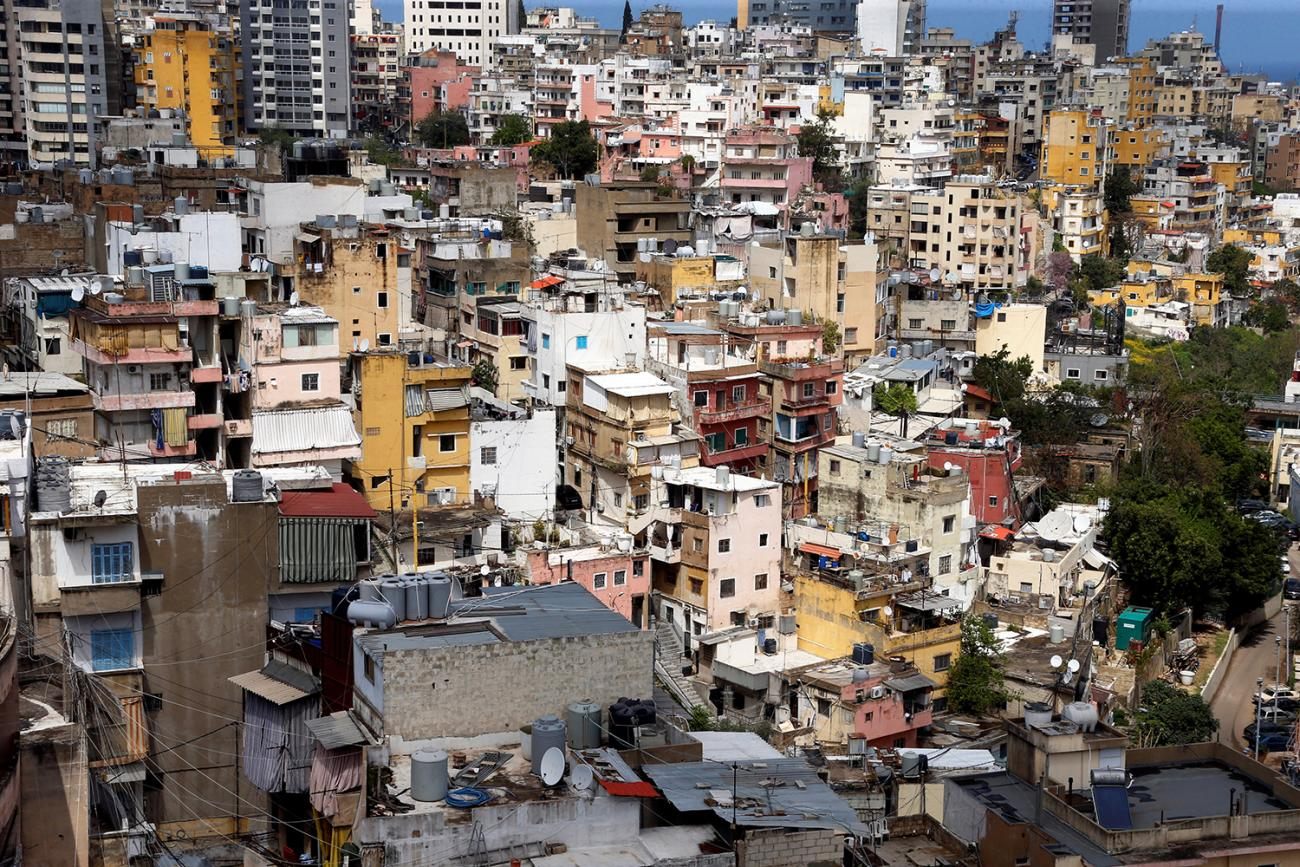 A general view shows buildings in Beirut during Lebanon's countrywide lockdown to combat the spread of coronavirus on April 1, 2020. Picture shows a view of a section of city filling the fame with buildings but very few people apparent on the streets. REUTERS/Mohamed Azakir