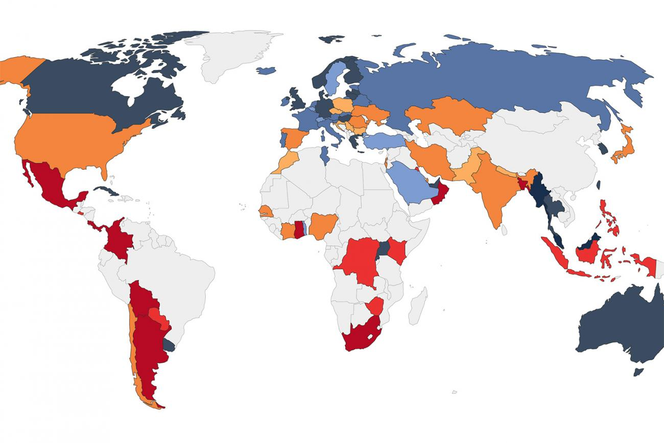 Share of COVID-19 tests that are positive globally. The image is a graph. CC-BY/Our World in Data