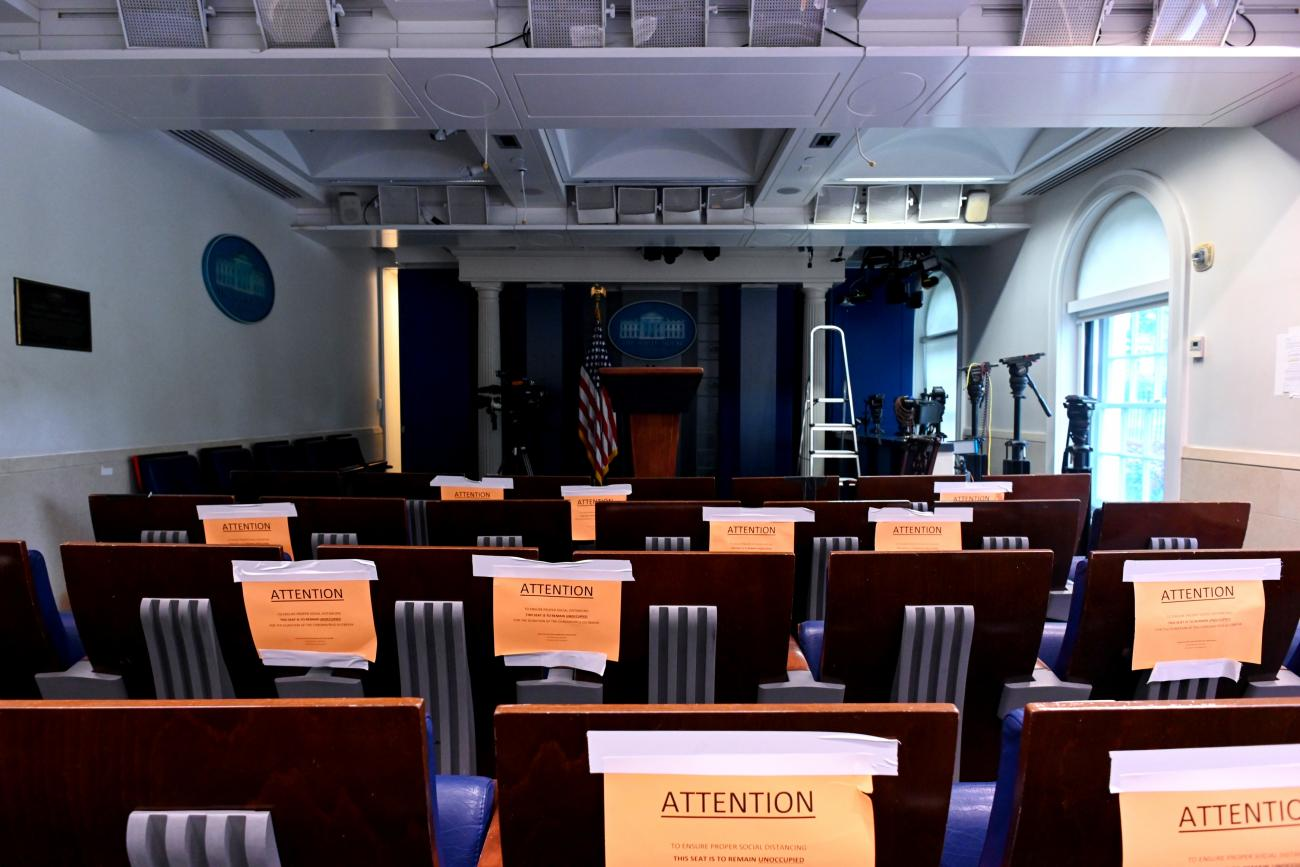 The White House briefing room is dark and empty after the coronavirus task force did not hold a briefing in Washington, U.S., April 25, 2020.
