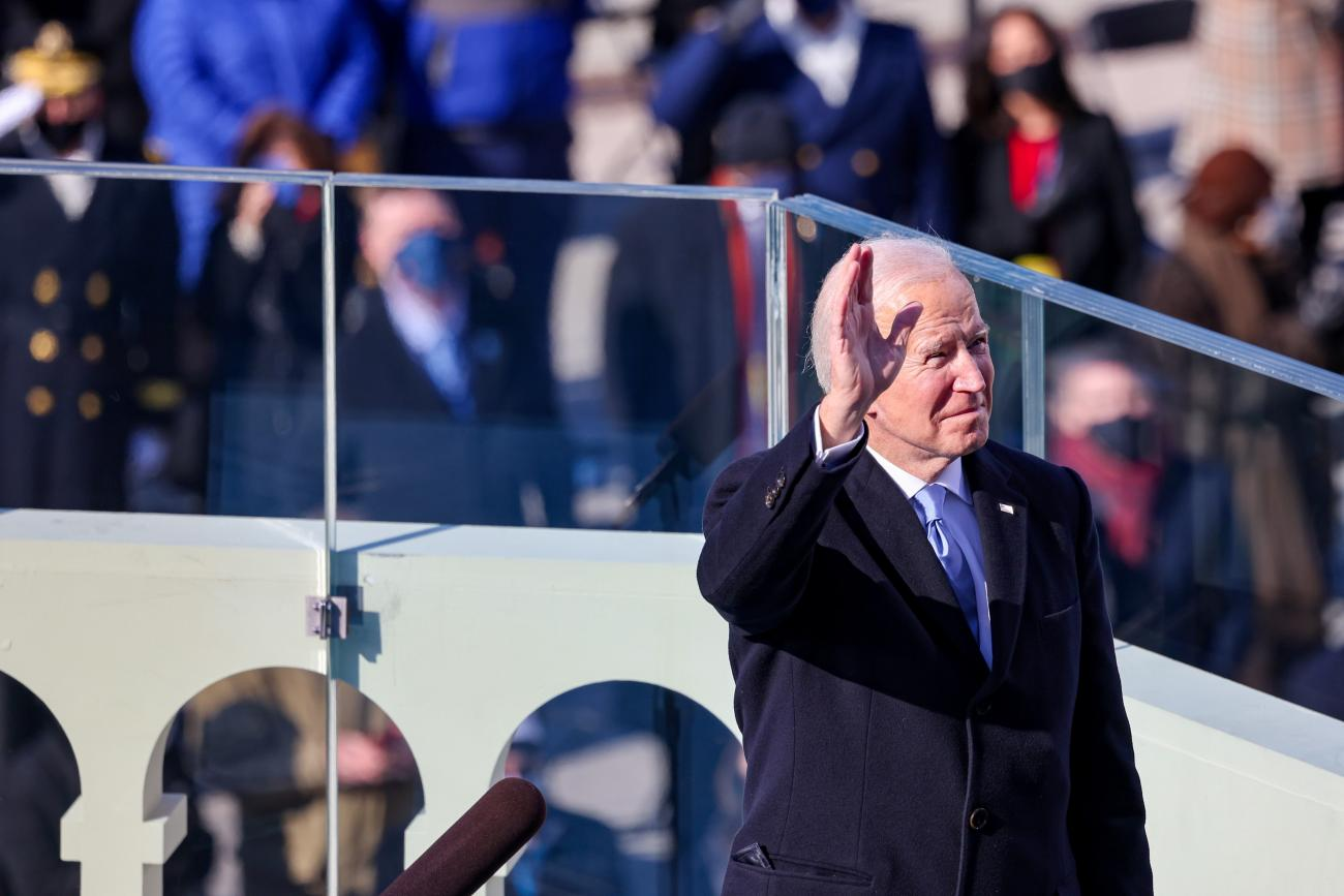 U.S. President Joe Biden waves after being sworn-in as the 46th President of the United States during his inauguration on the West Front of the U.S. Capitol in Washington, DC on  January 20, 2021.