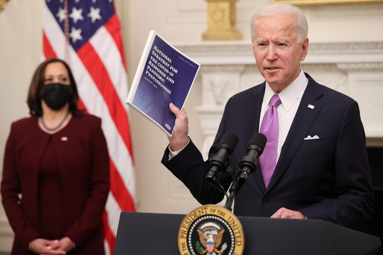 President Joe Biden speaks about his administration's plans to fight the coronavirus disease pandemic during a COVID-19 response event in Washington, DC on January 21, 2021.