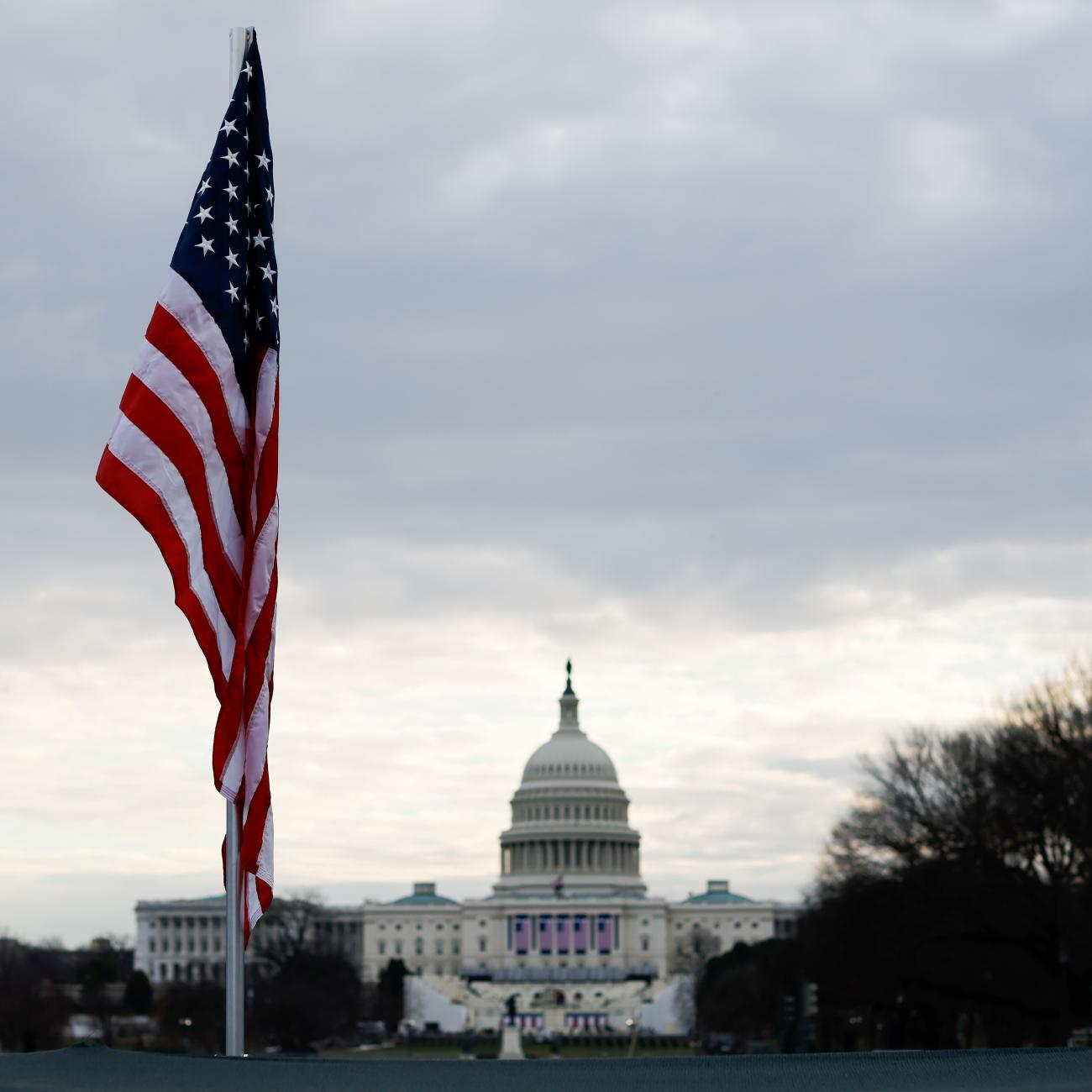 A U.S. flag is displayed at the National Mall, as part of a memorial paying tribute to the U.S. citizens who have died from the coronavirus disease in Washington, DC on January 18, 2021.