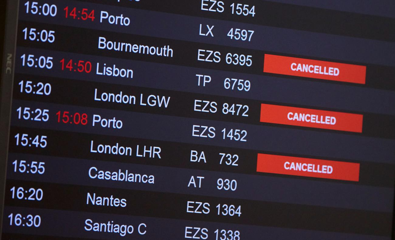 Flights from Britain to Switzerland are cancelled the day the Swiss government imposed a ten-day quarantine for travelers who have entered from Britain, in Geneva, Switzerland on December 21, 2020.