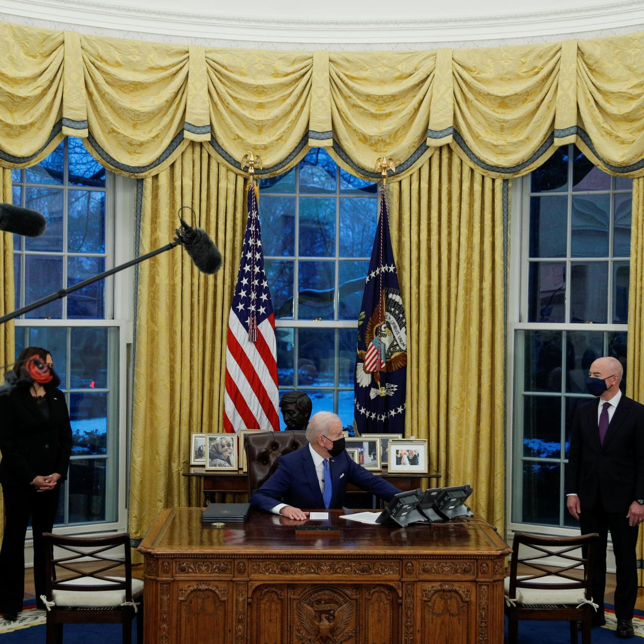 U.S. President Joe Biden looks on as he prepares to sign executive orders at the White House in Washington, U.S., February 2, 2021.