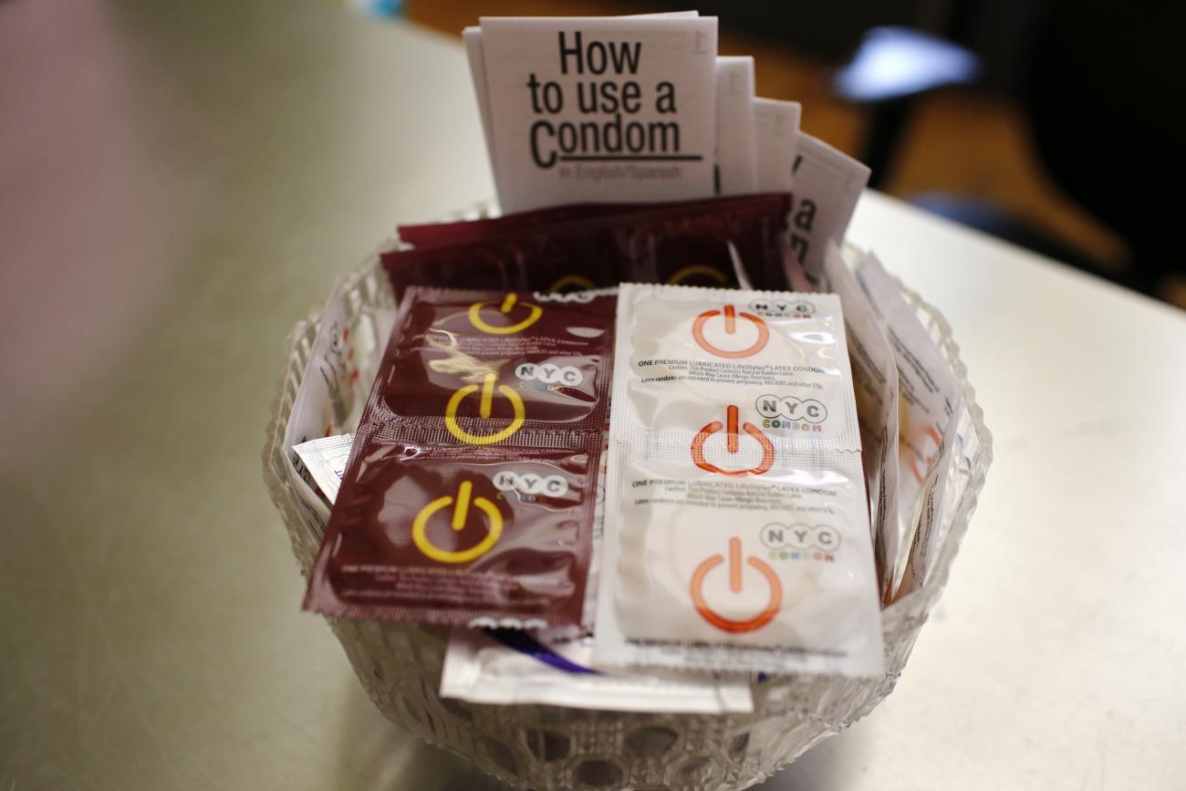 A bowl of free New York City condoms are seen in a lobby at the AIDS Service Center of New York City (ASC/NYC) lower Manhattan headquarters July 3, 2012