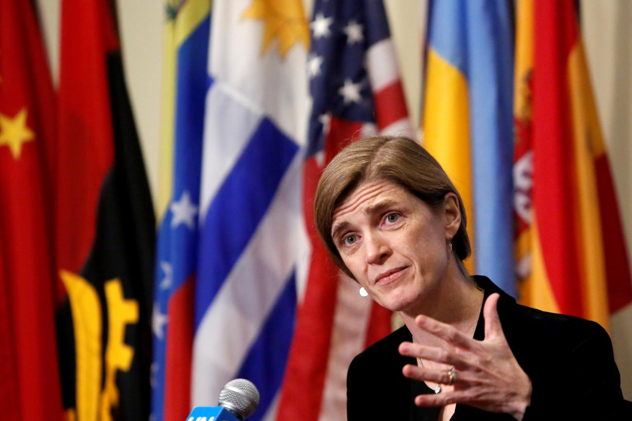 Then- United States Ambassador to the United Nations Samantha Power addresses media at the United Nations in Manhattan, New York City, U.S., December 19, 2016.