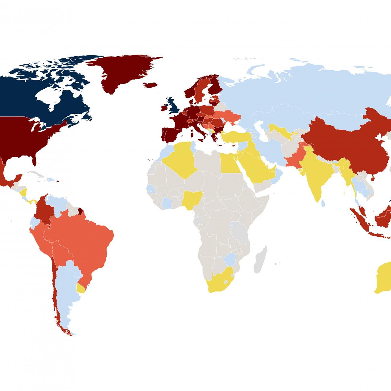 Map of the world shows number of vaccines countries have access to.