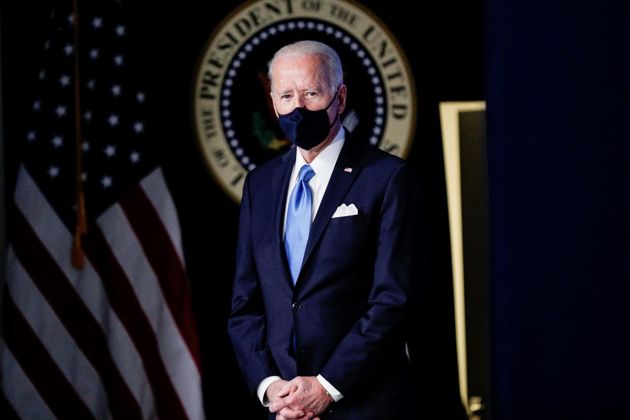 U.S. President Joe Biden attends an event where he announced administration plans to double its order of the single-shot Johnson & Johnson coronavirus vaccine, procuring an additional 100 million doses, in the South Court Auditorium at the White House in Washington, U.S., March 10, 2021.