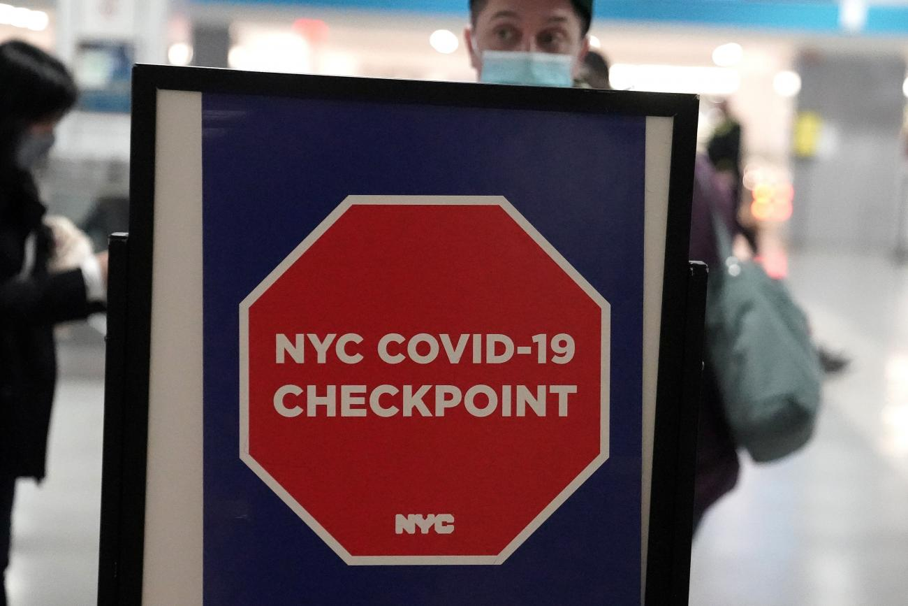 A sign is pictured at a test checkpoint at Pennsylvania Station the day before Thanksgiving during the coronavirus disease (COVID-19) pandemic in the Manhattan area of New York City, New York, U.S., November 25, 2020