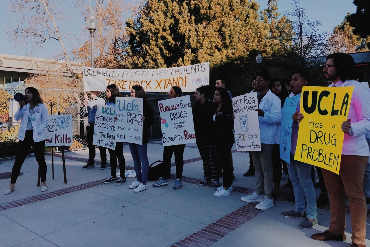 UAEM UCLA students organize outside the Board of Regents meeting on the campus to demand they drop the patent on a life-saving prostate cancer drug.