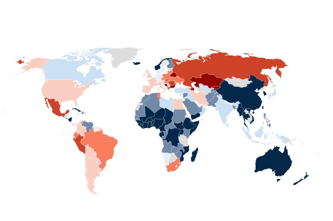 Map of the world shows number of COVID deaths per 100,000 people