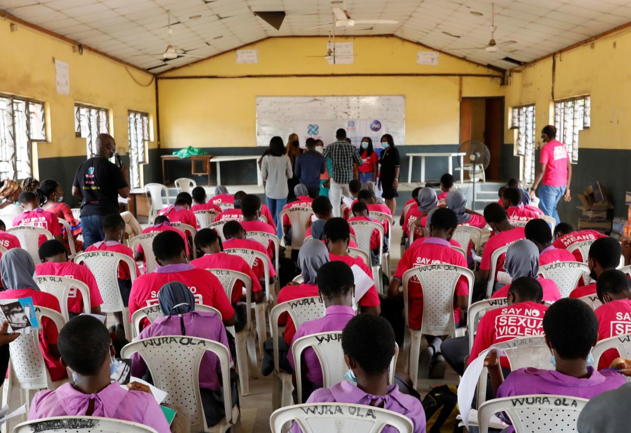 Students receive a lecture on the prevention of sexual violence from a representative of Women at Risk International Foundation, at Oregun High School in Lagos, Nigeria on March 31, 2021
