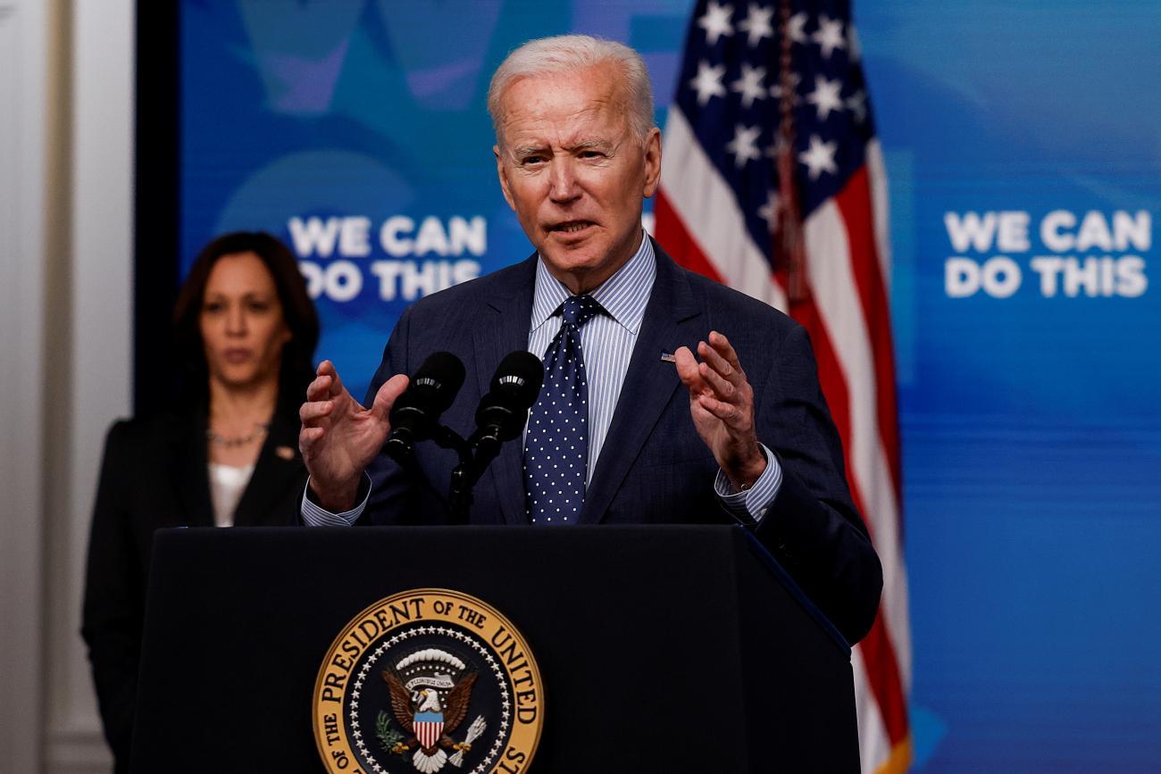 President Joe Biden delivers remarks on his administration's coronavirus disease response, as Vice President Kamala Harris at the White House in Washington, DC on June 2, 2021.